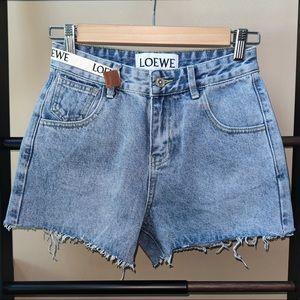 Loewe logo tape short denim pants